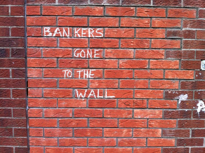 Seen on the wall of an empty bank in Derry