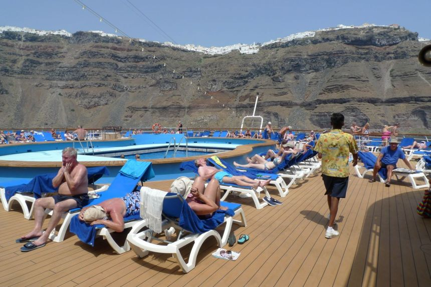 Moored off Santorini